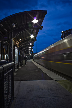 The T leaving Union Station on the way back to Boston. Taken by Justin Jarboe in Worcester, MA