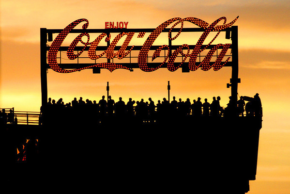 The famous Coca-Cola sign at Fenway Park. Taken by Nate Doggart in Boston, MA.