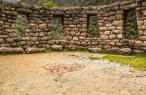the heart at Winay Wayna, Inca Trail, Peru