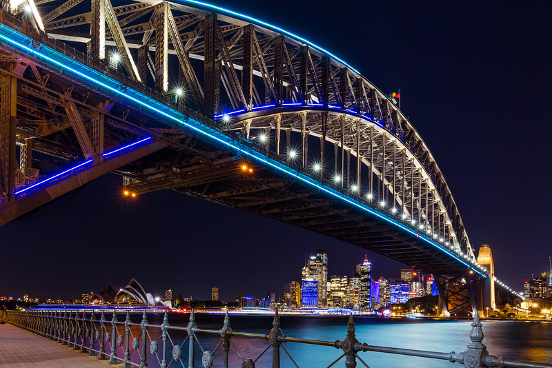 Harbour bridge in blue