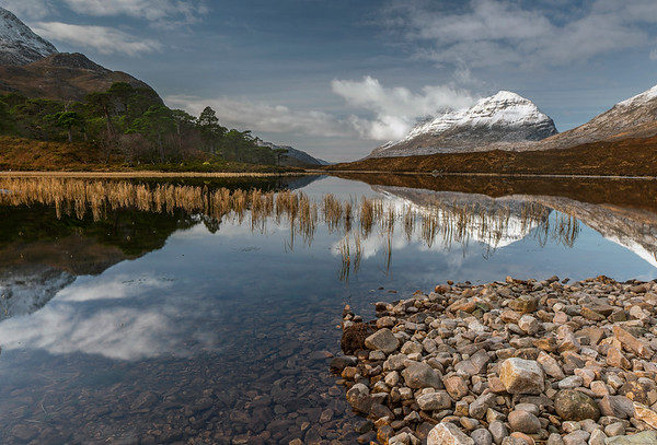 Snow capped Liathach and Loch Clair, Torridon, Wester Ross