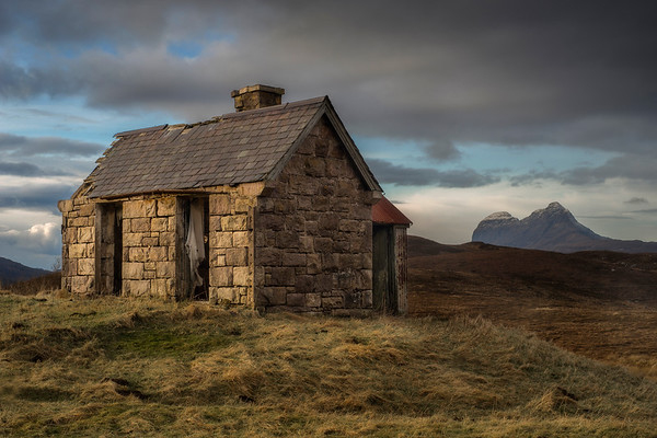 Abandoned House, Elphin with the mighty Suilven in the background