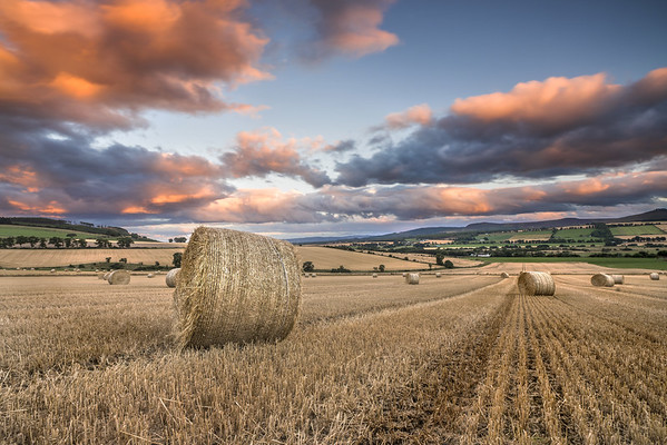 Round Bale sunset, Kinnahaird, Farm, Jamestown, Strathpeffer, Ross-shire