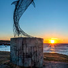 Dolphin Statue Sunset.