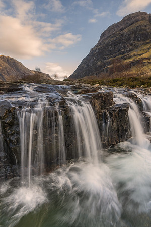 Waterfalls on the River Coe, Glencoe, with Aonach Dubh on the right