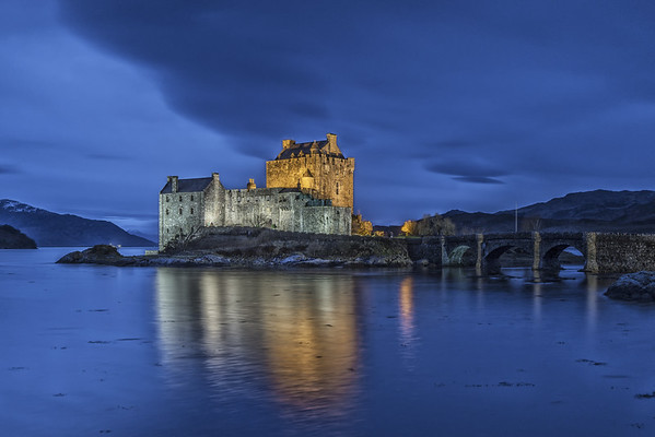 Blue hour at Eilean Donan Castle, Dornie, Kyle of Lochalsh, Wester Ross