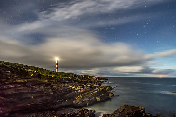 Moon lit Tarbatness Lighthouse, Portmahomack, Easter Ross