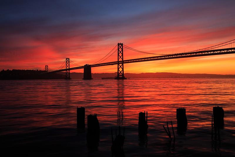 sunrise of bay bridge