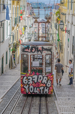 a tram car in Lisbon