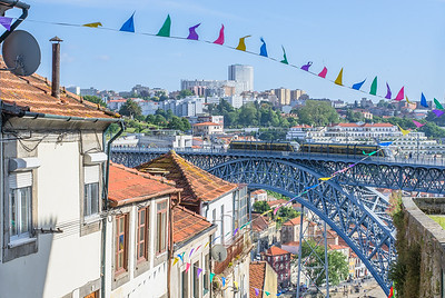 View of Ponte Luís I bridge from Porto's old town