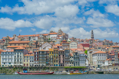 Porto's old town along the banks of the river Douro