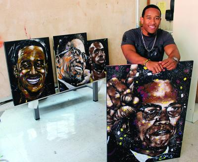 Jayla Moody<br /> Caleb Brown, senior psychology major, said he didn't start painting until a year ago.