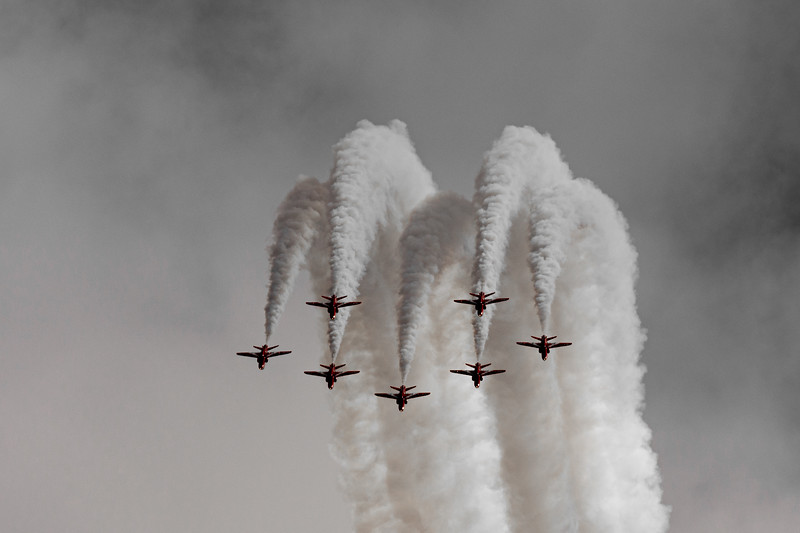 Red Arrows Plumes of smoke at RAF Cosford 2019