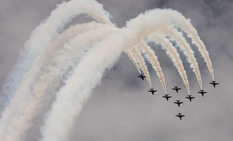 Red Arrows smoke trails during loop at RAF Cosford 2019