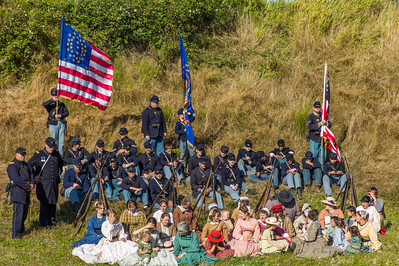 4th Regt. US Infantry September 1st, 2012 outside the earthworks fortification at Fort Stevens.