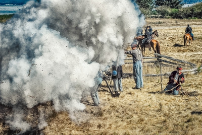 Boom! A ground burst hits a Confederate Cannon Crew.