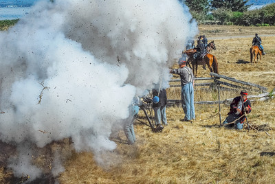 Boom! A ground burst hits a Confederate Cannon Crew.  Photo by Becky Healy, post-processing by Zane Healy.