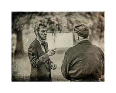 Abe Lincoln addresses Union Soldier Matted 8x10 Photo