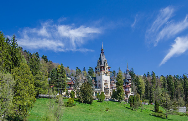 Peleș Castle in the Carpathian mountains