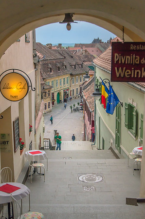 a picturesque medieval alley  in the old town of Sibiu