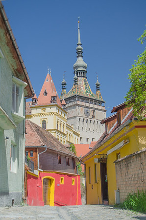 The 14th century clock tower in the medieval citadel of Sighisoara