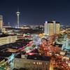 San Antonio Skyline with Christmas lights with Full Moon