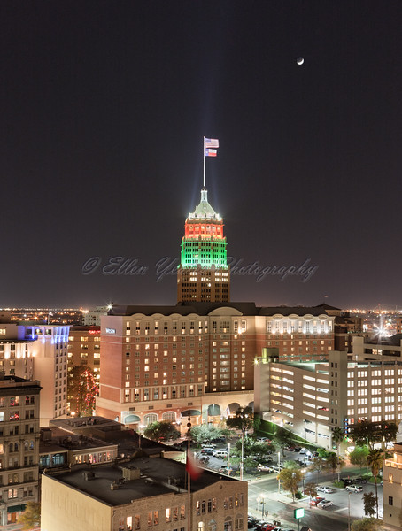 Tower Life Building with Christmas Light