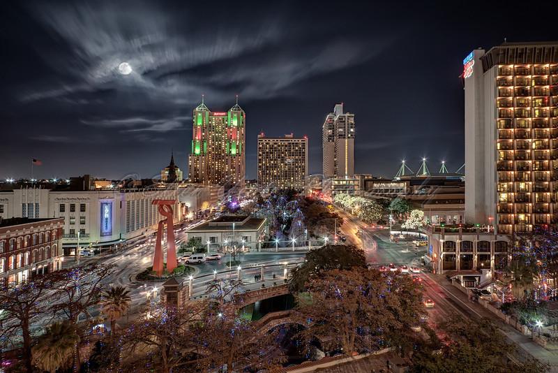 San Antonio Skyline with Full Moon