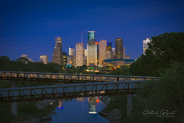 Houston skyline during clear evening skies