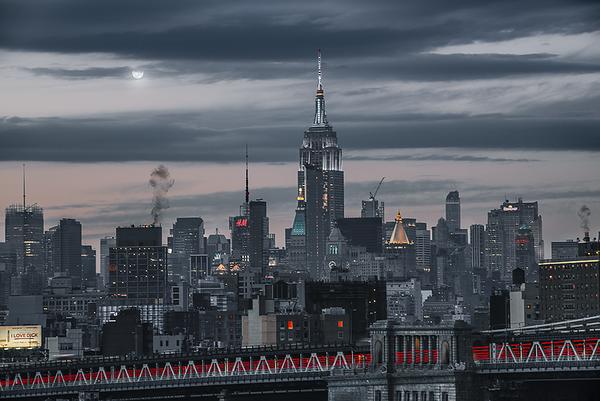 From Brooklyn Bridge, overlooking... Manhattan Bridge and Empire State Building, New York City