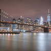 Brooklyn Bridge and Lower Manhattan Skyline from Brooklyn Bridge Park, NYC.