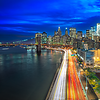 Manhattan downtown from Manhattan bridge and FDR Drive Light Trails