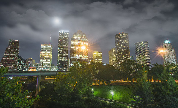 Houston skyline captured from Sabine street bridge