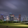 Houston Skyline (long exposure) during cloudy twilight from Eleanor Tinsley Park