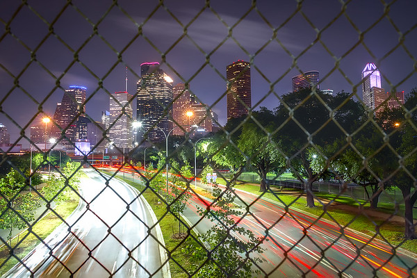 """Houston Skyline Caged"" - Shot from Allen Parkway as it heads into Downtown Houston"