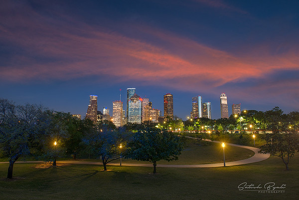 Houston Sunset from Eleanor Tinsley Park