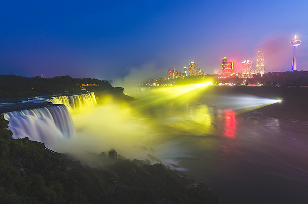 Color Illumination over Niagara Falls, New York (Long Exposure)