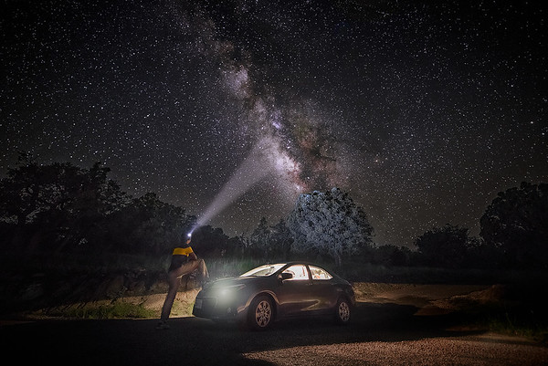 Night Rider hypnotized by Milky Way at McDonald Observatory - Fort Davis, West Texas