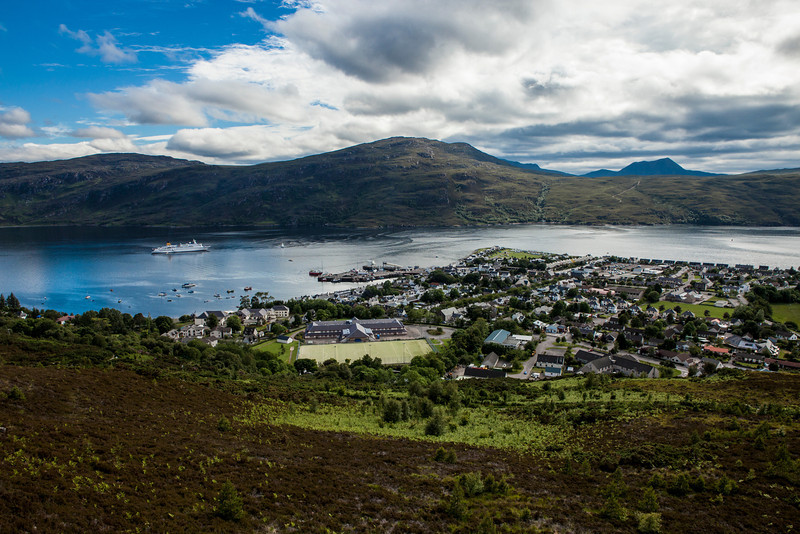Looking down over Ullapool, Scotland.