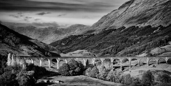 Glenfinnan Viaduct, Scotland. The viaduct can be seen in The Harry Potter series of films.