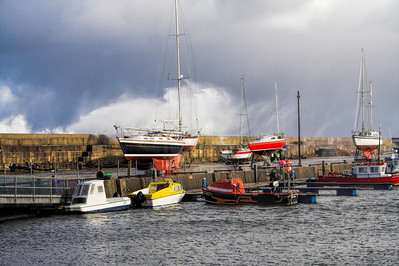 Lossiemouth Harbour during high winds.