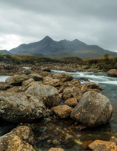 Sligachan river with the cuillins mountains, Isle of Skye