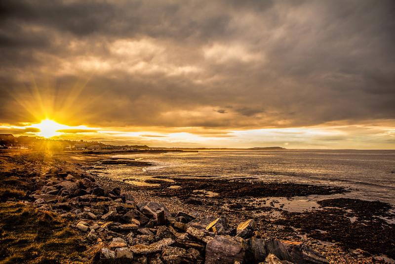 The sea at Portgordon, Moray, Scotland.