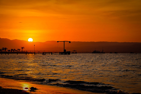 The red sunset in Paracas