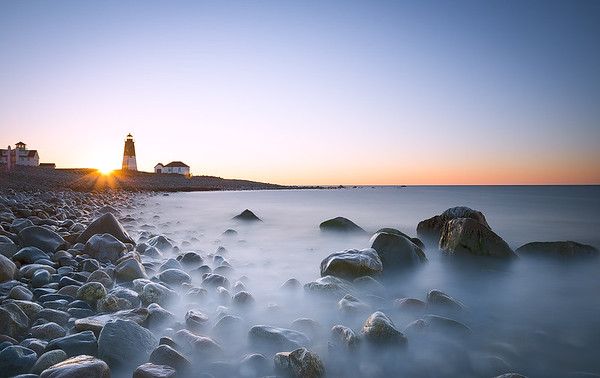 A beautiful sunrise at Point Judith Lighthouse, Narragansett - Rhode Island (Long Exposure)