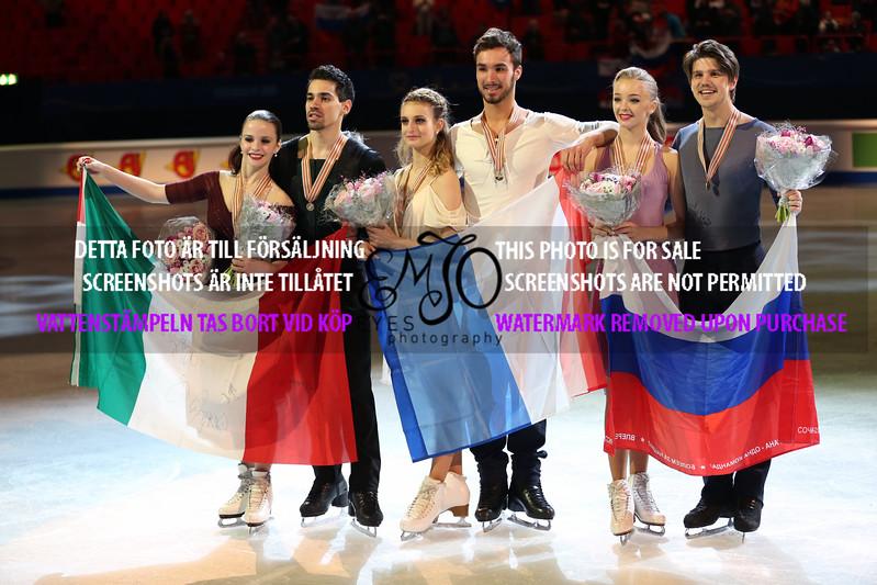 Silver  Anna CAPPELLINI / Luca LANOTTE,Gold  Gabriella PAPADAKIS / Guillaume CIZERON, Bronze  Alexandra STEPANOVA / Ivan BUKIN