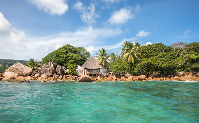 Beach view on an island in Seychelles.