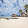 Beach view on an island of La Digue in Seychelles.