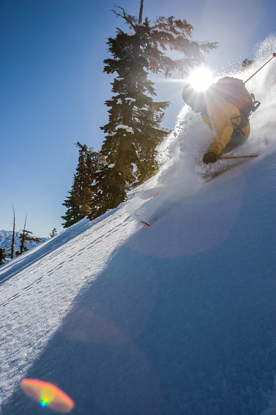 Ian Skinner Randonnee skier on Jakes, Lake Tahoe CA