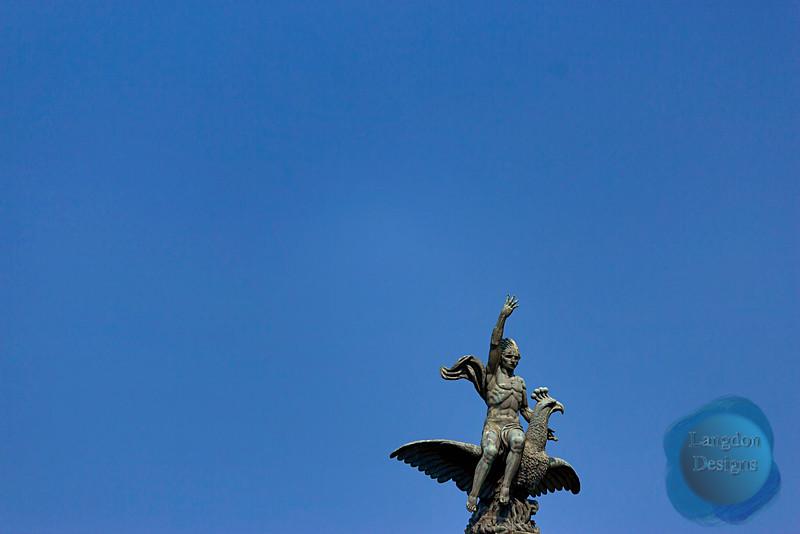 Barcelona Eagle and Boy Statue